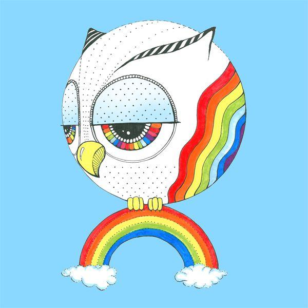 Rainbowl! www.sowulka.pl #rainbow #sowulka #sowa #owl #illustration