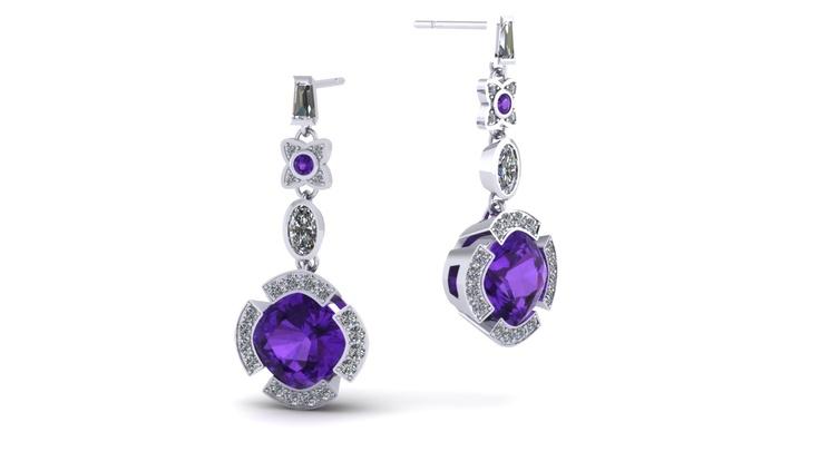 Zoe Harding - Amethyst Cluster Earrings (CAD Render)