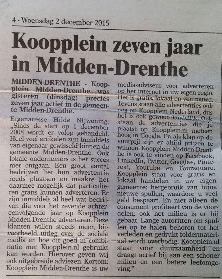 Leuk stukje in de Veldenkrant over het 7-jarig bestaan van Koopplein Midden-Drenthe. http://koopplein.nl/middendrenthe