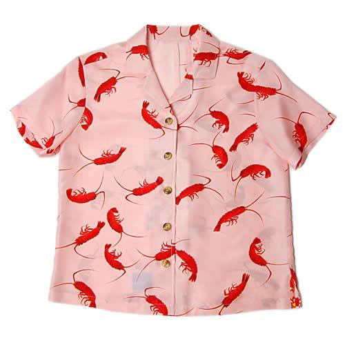 赤い伊勢海老 羽裏のアロハシャツ -和柄アーカイブス