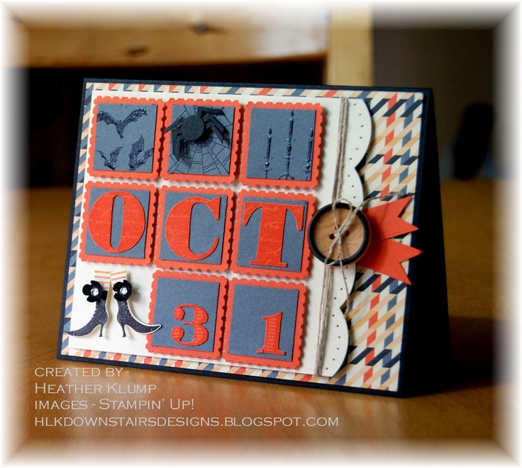 Halloween card ... inchies in postage stamp squares ... in red and blue ... spell out OCT 31 ... clever ... would also look great in orange and black ... Stampin' Up!