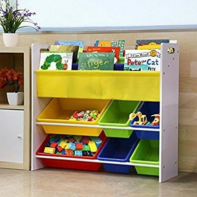 Homfa €49 L86 × D26.5 × H78cm Mensola Libreria Porta Giocattoli con Scatole per Bambini Amazon.it