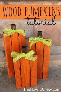 DIY Wood Pumpkins Tutorial from TheHowToCrew.com.  These will look great on your front porch for Halloween and Thanksgiving!
