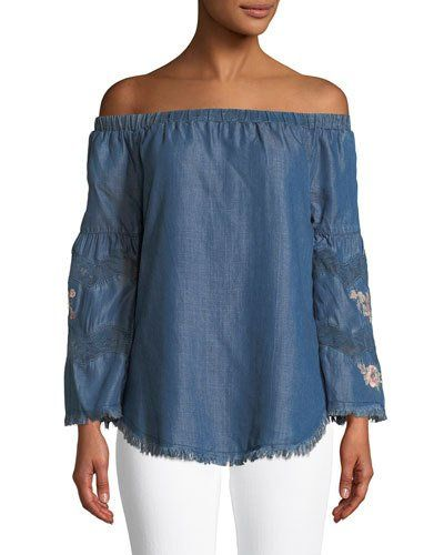 Embroidered Off-The-Shoulder Chambray Shirt