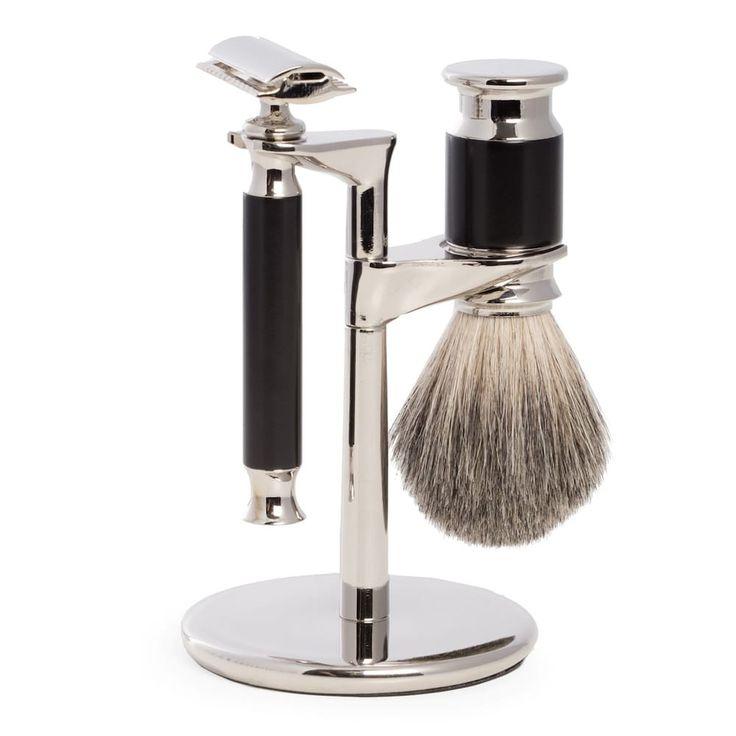 Bey-Berk Safety Razor & Pure Badger Brush, Black