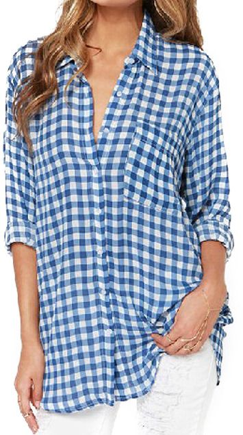 Asymmetric Check Blue Shirt