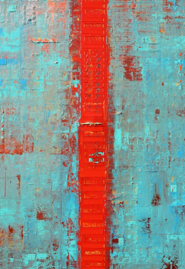 FINEARTSEEN - Primitive Abstract Red Line by Robert Lynn. A stunning original abstract painting in teal. Available on FineArtSeen - The Home Of Original Art. Enjoy free delivery with every order.