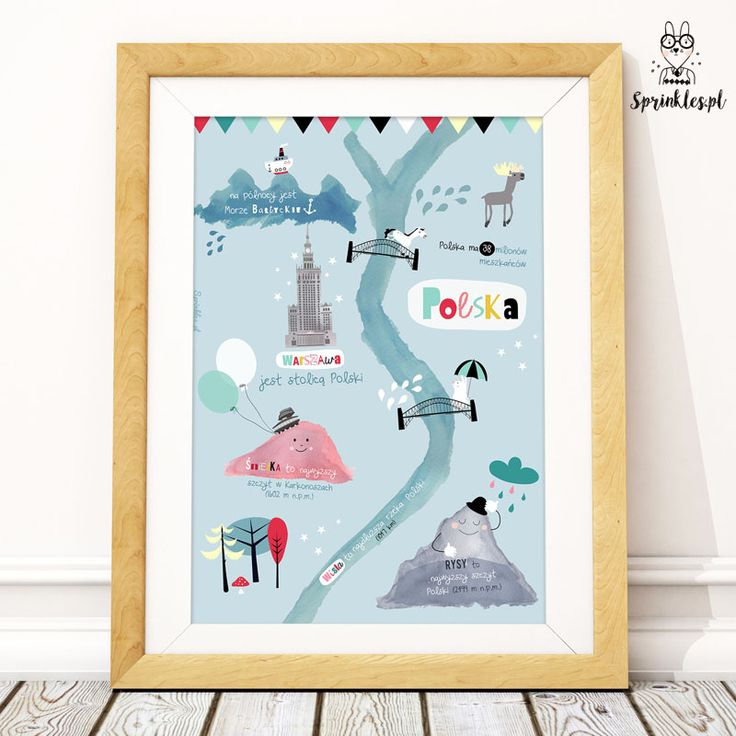 Poster for kids. Poland Map.