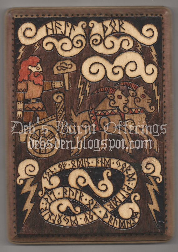 Thor and Chariot Wood Plaque Viking Asatru Pagan