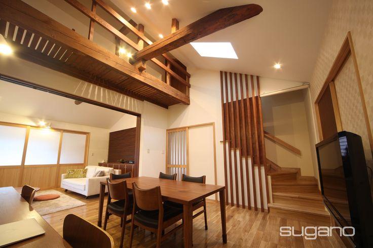 築40年古民家のリフォーム。使われている木材の質がよく、大工の技術も優れているので、その良さを生かしたデザインをご提案しました。 和風建築/和風住宅/古民家再生  菅野企画設計
