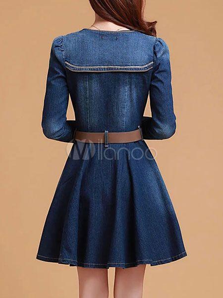 Blue Denim Vintage Dress