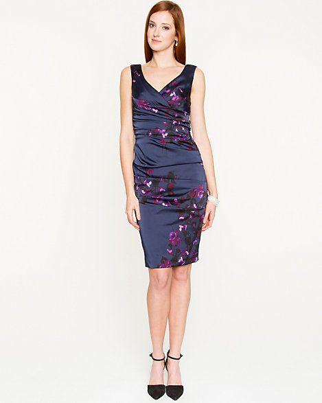 Floral SatinV-Neck dress