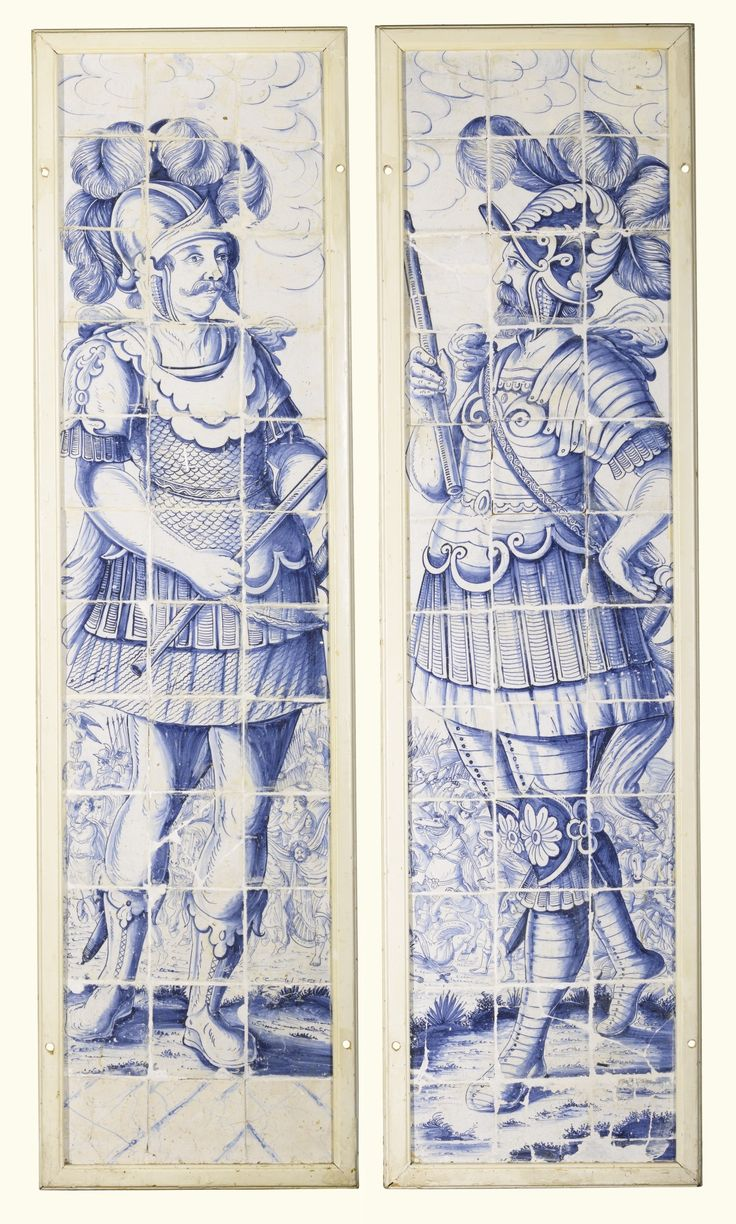 A pair of Dutch Delft blue and white tile picture panels depicting Roman Soldiers, 17th century of large size, each made of thirty six tiles, painted with a full portrait view of a Roman soldier standing before a battle scene