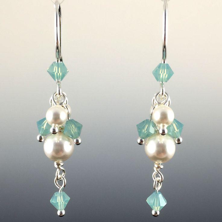 Swarovski Crystal & Sterling Silver Short Cluster Earrings with Dangles