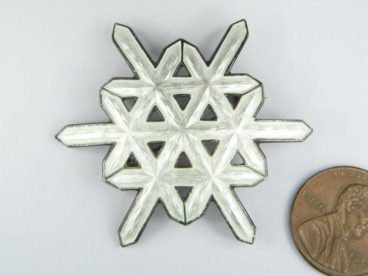 VINTAGE NORWEGIAN SILVER ENAMEL SNOW FLAKE PIN BROOCH c1960's OTTAR HVAL NO RES | eBay, sold for $53.90 / 43 mm diameter
