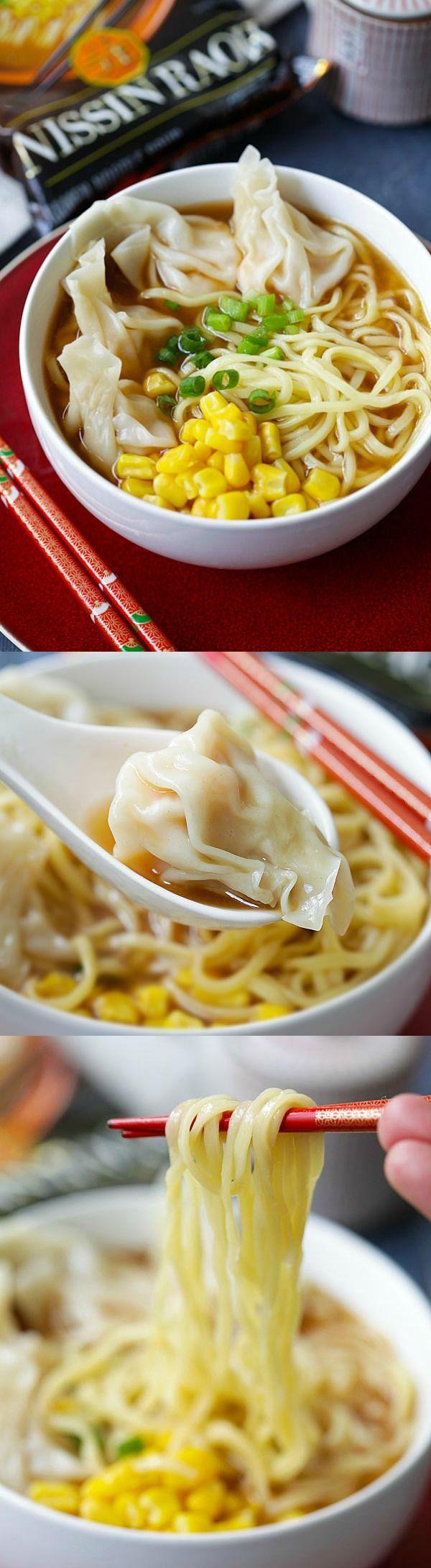 Shrimp Wonton Miso Ramen - restaurant-quality miso ramen with juicy and plump shrimp wontons, made with Nissin RAOH ramen, SO GOOD!   rasamalaysia.com