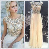 Sexy Sheer short sleeve champange beaded sheer top real sample dress vestidos de fiesta largos chiffon prom dress-139$