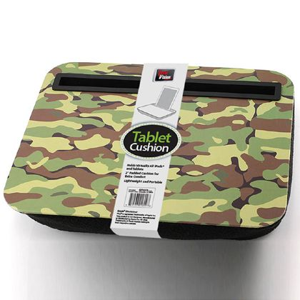 Enjoy surfing the web on your tablet with help from this comfortable lap tray. It holds nearly all tablets and features a 2-inch padded cushion for extra comfort and a stylish camouflage pattern. It's lightweight and portable, so you can use it anywhere you and your tablet go!