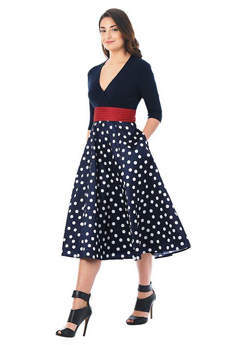 I <3 this Polka dot mixed media surplice dress from eShakti
