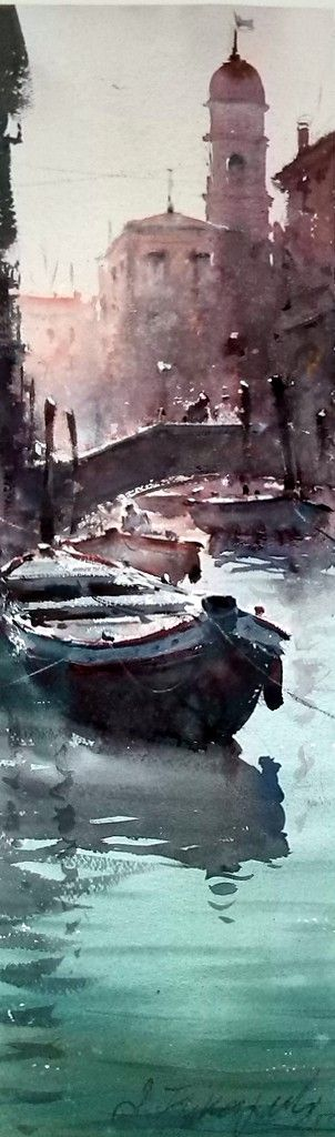 Dusan Djukaric, Boats in Venice, Watercolour, 55x17cm