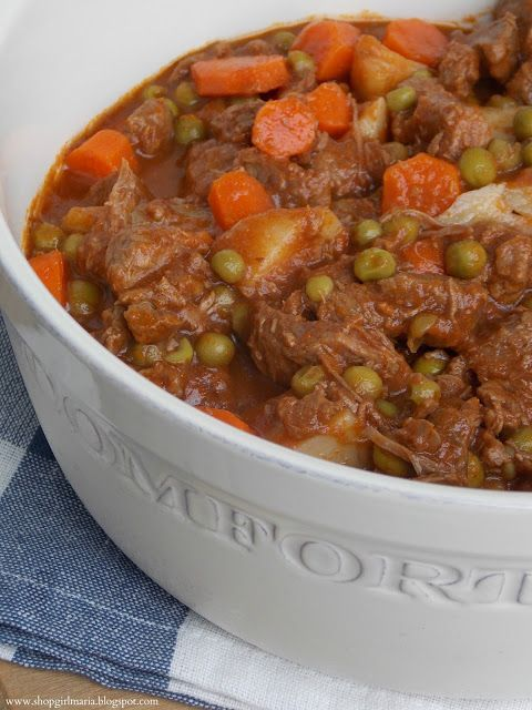HEARTY BEEF STEW (Adapted from The Pioneer Woman) *Serves 6* YOU WILL NEED: 2 lbs beef stew meat 4oz tomato paste 2 tbs butter 1 tbs olive oil Worcestershire sauce 1 tsp granulated sugar 1 medium sized onion, diced 2 cloves garlic, minced 4 medium carrots, diced 2 medium potatoes, cut into chunks 1/4 cup frozen peas 5 cups low-sodium beef broth Salt & Pepper to season