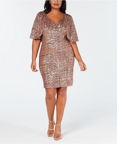 Plus Size Sequin Capelet Dress in 2019 | Clothes | Dresses, Plus ...