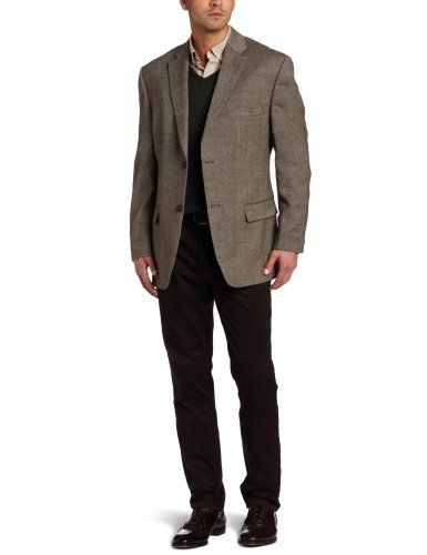 Hot Product Today  Haggar Men's Donegal Lambswool Two Button Center Vent Sport Coat, Brown, 46 S