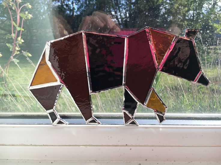 Geometric bear from stained glass