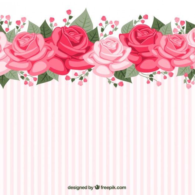 Papel pintado a rayas con rosas Vector Gratis