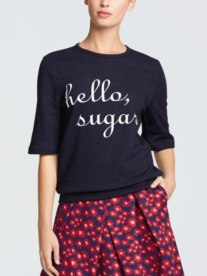 Draper James hello sugar sweatshirt worn by Mindy Lahiri on The Mindy Project.