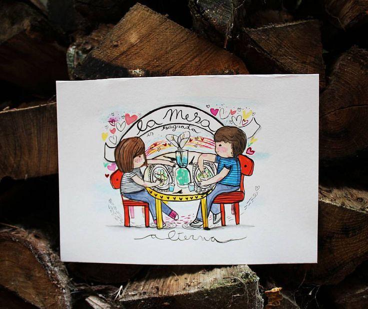 https://flic.kr/p/CV6ybT | Essen ! (Comer)  #alterna #mesa #amor #liebe #love #freundin #pololos #essen #comer #düsseldorf #deutschland #skizzenbuch #Abbildung #illustration #ilustración #tisch