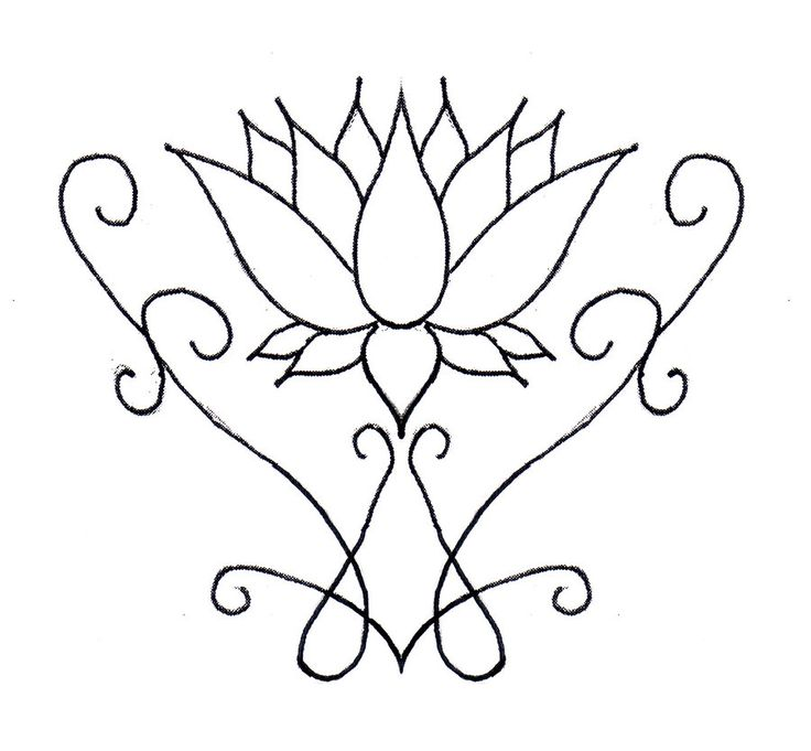 Basic Flower Line Drawing : Henna lotus flower tattoo the simple design can easily