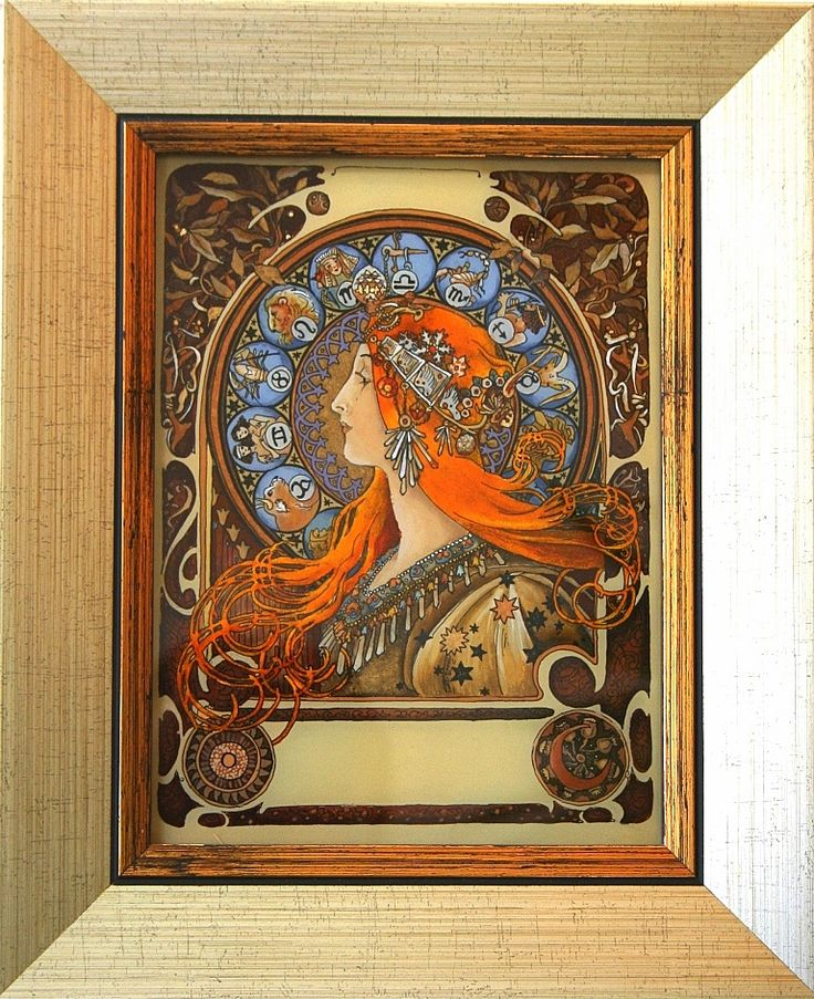 ZODIAK Alphonse Mucha malowane na szkle Danuta Rożnowska-Borys  -BorysArt