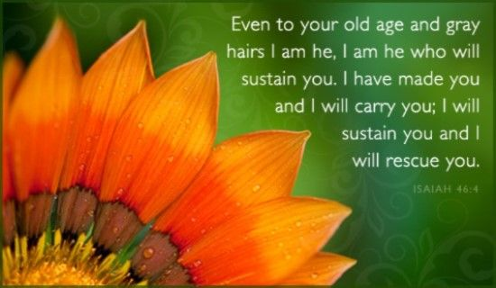 And 3. Isaiah 46:4 Even in your old age and gray hairs I am He, I am He who will sustain you. I have made you and I will carry you; I will sustain you and I will rescue you.