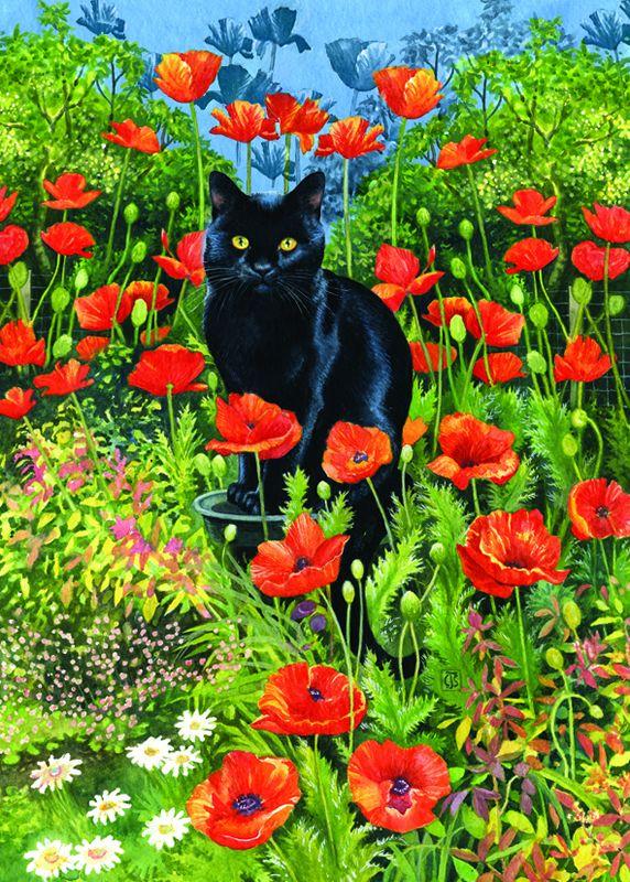 Otterhouse Jigsaw Puzzles: Poppy Garden-Black Cat Jigsaw Puzzle at ...