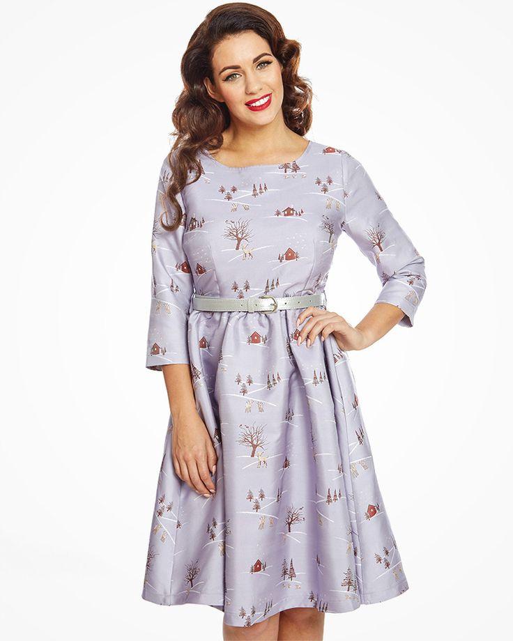 'Holly' Winter Scene Print Swing Dress   Vintage Inspired Fashion   Lindy Bop
