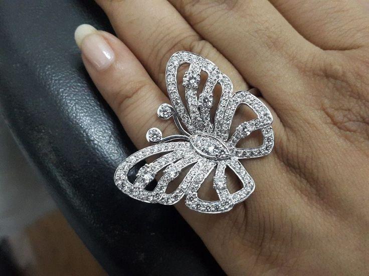 925 Sterling Silver Diamond Mariah Carey Inspired Butterfly Ring Perfect Fan #br925silverczjewelry #ButterflyRing