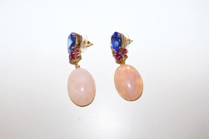 Pendientes azules y rosas #invitada #boda #wedding #jewelry #guest