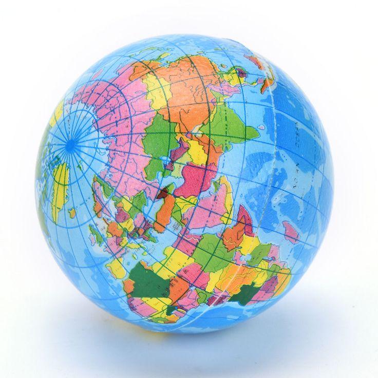 Map Ball Brief Earth Globe Stress Relief Bouncy Foam Ball Kids World Geography  #BESTIMINCUK