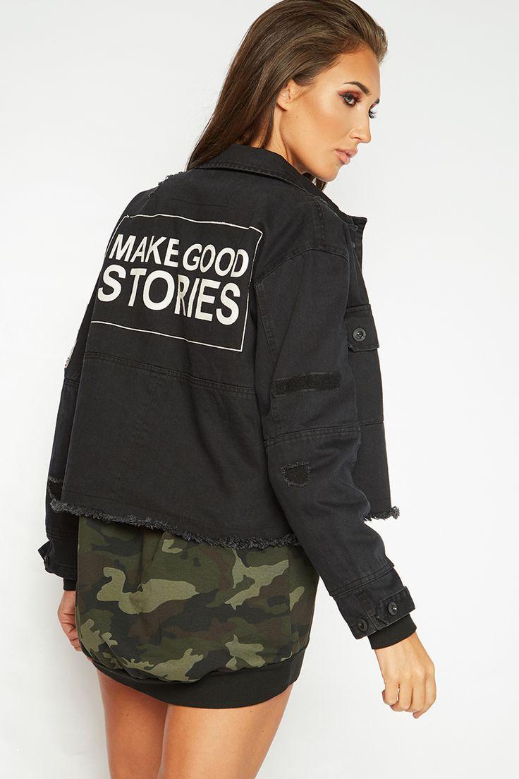 Megan McKenna Black Cropped Slogan Denim Jacket