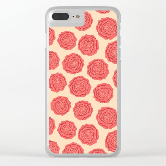 Roses Pattern Clear iPhone Case #roses #flowers #art #illustration #botanical #nature #red #blossom #floral #faerieshop #pink #pattern #beige #delicate #cute #pastel #trendy #girly #girlish #romantic #vintage #cool #accessories #society6 #phone #case