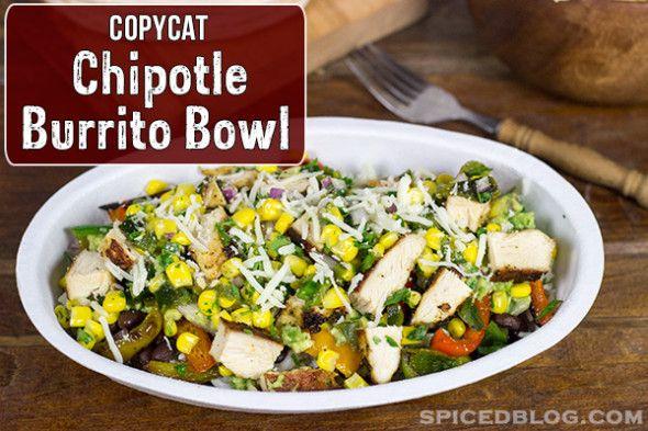 Copycat Chipotle Burrito Bowl - link for rice, corn salsa, guacamole and chicken