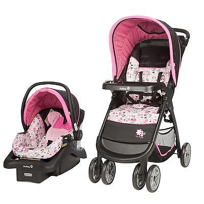 Baby Stroller Travel System Car Seat Combo Minnie Mouse For Girls Lightweight