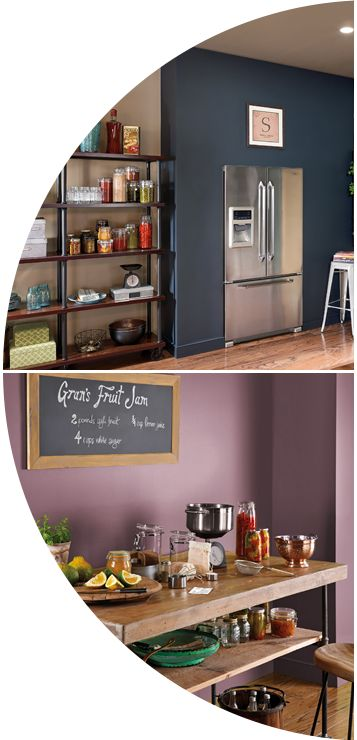 2015 Paint Color Trends with Behr paint - Nuanced neutrals. Colorful, weathered colors. Blue clay above and Mulberry Wine below.