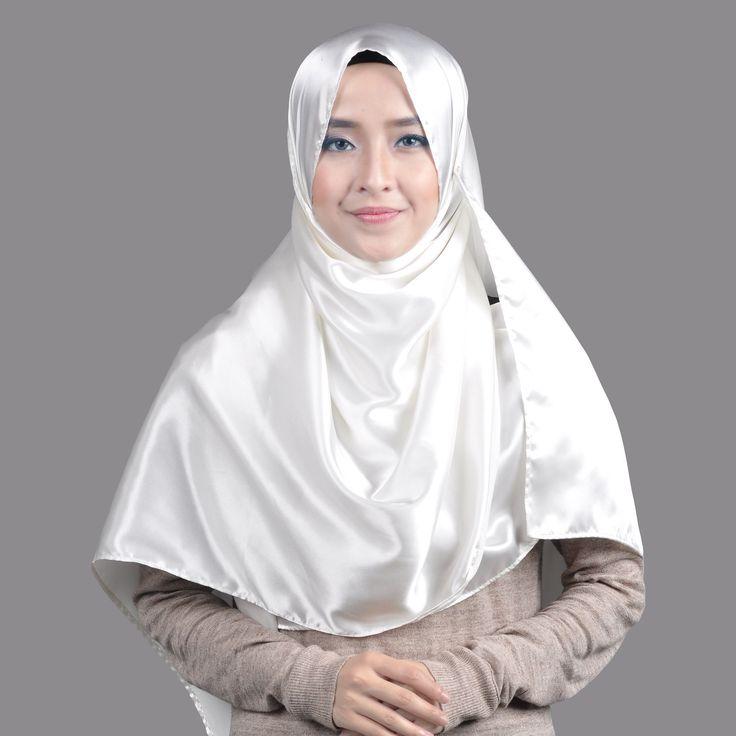 Basic Plain Wide Satin Silk Shawl in Ivory (Free Hijab Pin!) - BAJUFOUNDRY