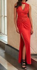 BNWT Lipsy VIP Red Lace Applique Ruched Choker Maxi Dress UK10 *SALE* RRP £140