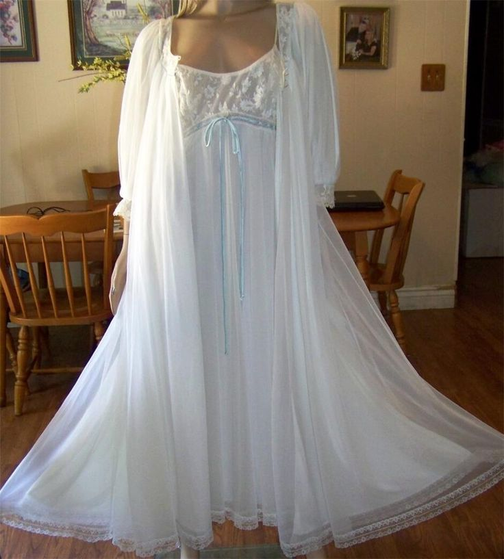 Vintage Lucie Ann Long Double Layer Chiffon Nightgown