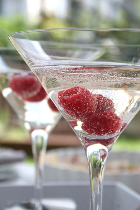 The perfect Valentine cocktail - raspberry vodka & prosecco