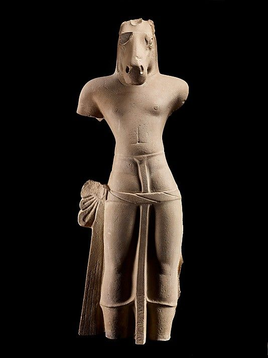 Kalkin, Visnu's Future Avatar, first half of the 7th century. Southern Cambodia. Lent by National Museum of Cambodia, Phnom Penh (Ka.1642) | Kalkin is the future world savior, understood as the tenth avatar of Vishnu, who will appear in the form of a white horse to judge mankind. #LostKingdoms