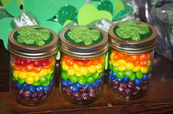 Skittles gift jars for St. Pattys Day...There's a hidden snickers bite with gold wrapper hidden in the bottom ( at the end of the rainbow)...Goes with a tag that says ...You are the gold at the end of my rainbow!